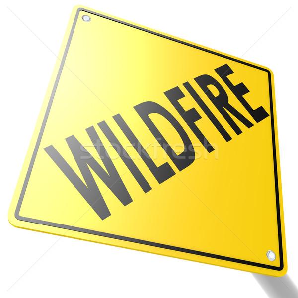 Senalización de la carretera incendios forestales imagen prestados utilizado Foto stock © tang90246