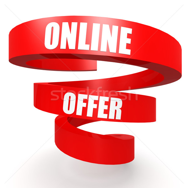 Online bieten rot Helix Banner Papier Stock foto © tang90246