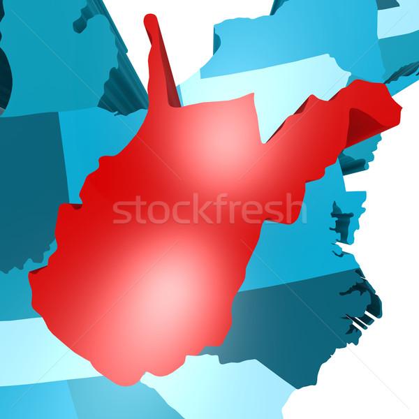 Nyugat-Virginia térkép kék USA kép renderelt Stock fotó © tang90246