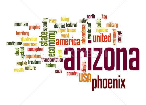 Arizona woordwolk wolk vrijheid geschiedenis grafische Stockfoto © tang90246