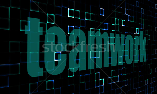 Pixelated words Teamwork on digital background Stock photo © tang90246