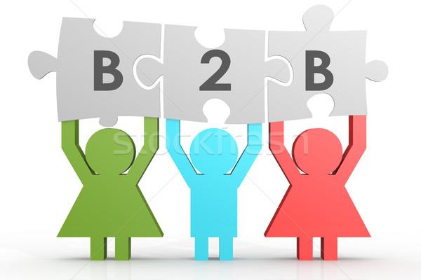 B2b ビジネス パズル 行 画像 レンダリング ストックフォト © tang90246