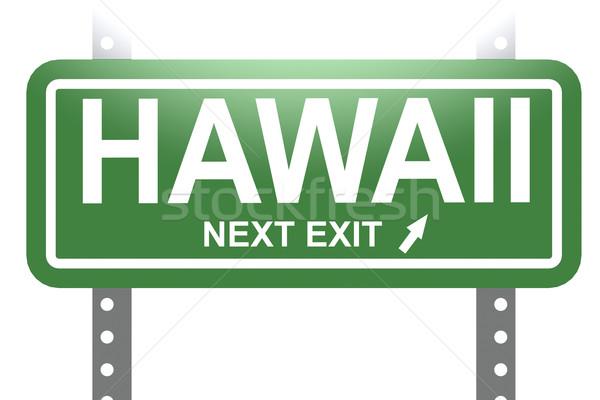 Гавайи зеленый знак совета изолированный изображение Сток-фото © tang90246