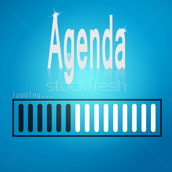 Stock photo: Blue loading bar with agenda word