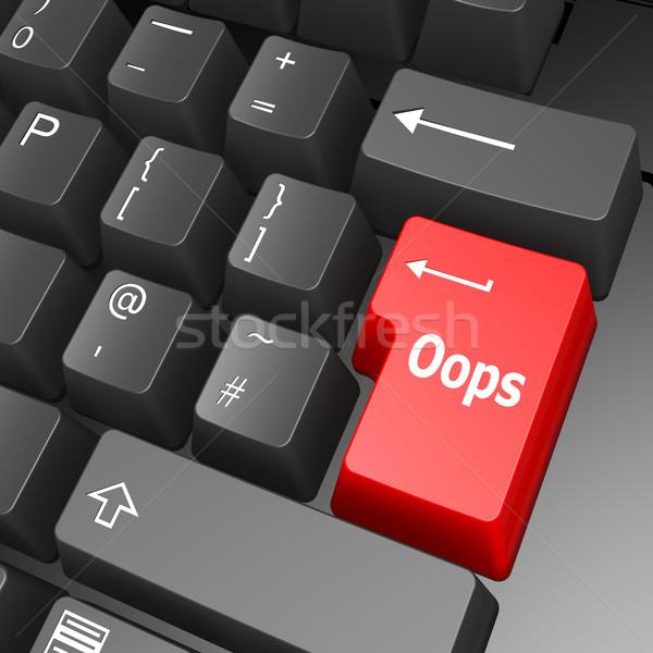 Oops sleutel toetsenbord teken communicatie Stockfoto © tang90246