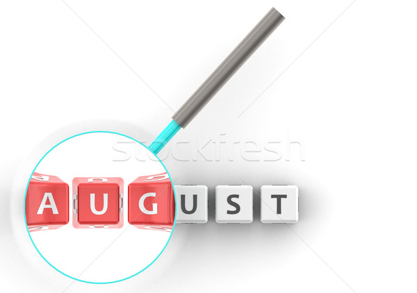August puzzle with magnifying glass Stock photo © tang90246