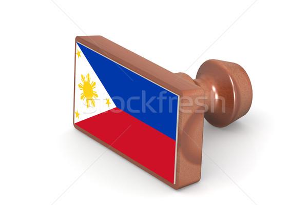 Stock fotó: Fából · készült · bélyeg · Fülöp-szigetek · zászló · kép · renderelt