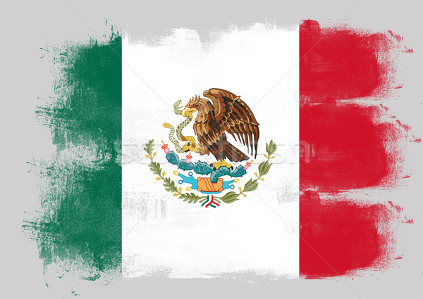 Flag of Mexico painted with brush Stock photo © tang90246