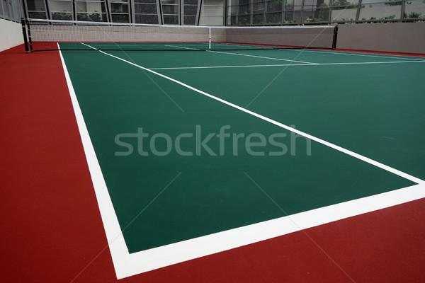 Kort tenisowy jeden kąt pracy ciało zdrowia Zdjęcia stock © tang90246