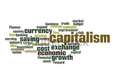 Kapitalizm kelime bulutu iş para finanse pazar Stok fotoğraf © tang90246
