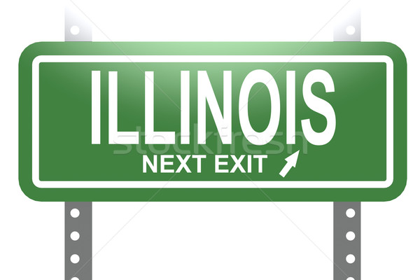 Illinois green sign board isolated Stock photo © tang90246