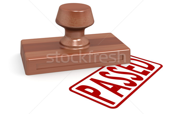 Stock photo: Wooden stamp passed with red text