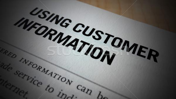 клиентов информации слово напечатанный белый бумаги Сток-фото © tang90246