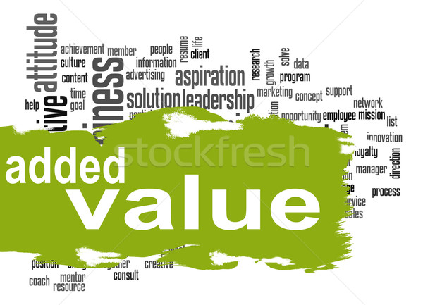 Added Value word cloud with green banner Stock photo © tang90246