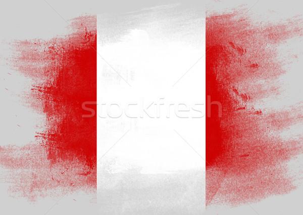 Bandeira Peru pintado escove sólido abstrato Foto stock © tang90246