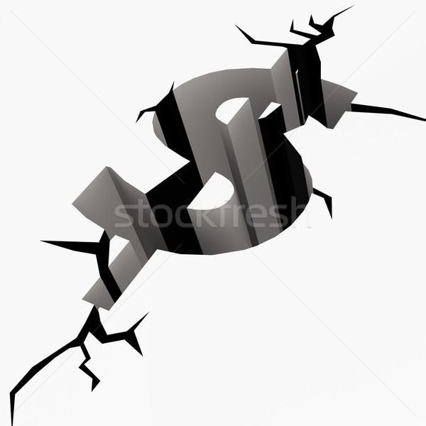 Crack ziemi znak dolara ceny bezpieczeństwa finansów Zdjęcia stock © tang90246