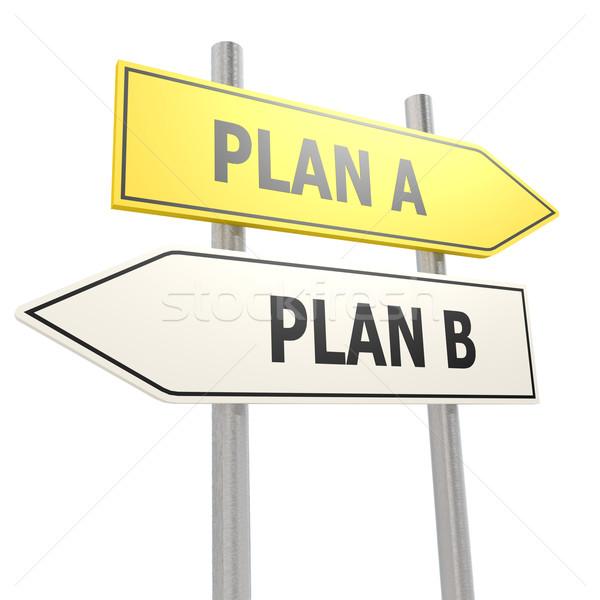 Plan b yol işareti yol çalışmak sokak imzalamak Stok fotoğraf © tang90246