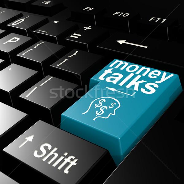 Pénz szó kék belépés billentyűzet kép Stock fotó © tang90246