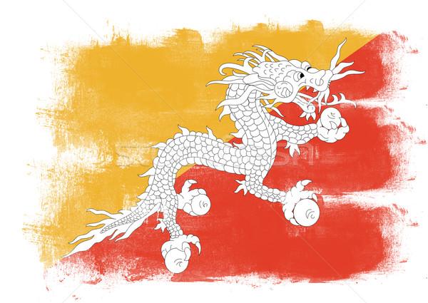 Vlag Bhutan geschilderd borstel solide abstract Stockfoto © tang90246