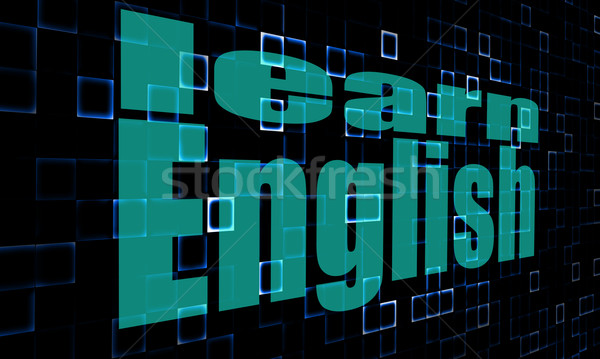 Pixelated words learn english on digital background Stock photo © tang90246