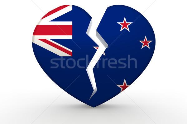 Roto blanco forma de corazón nuevos bandera 3D Foto stock © tang90246