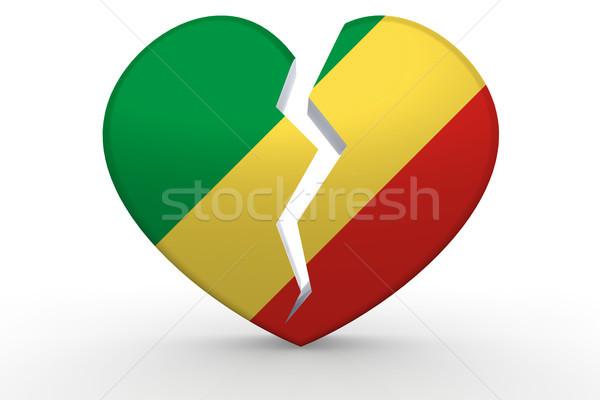 Podziale biały kształt serca republika banderą 3D Zdjęcia stock © tang90246