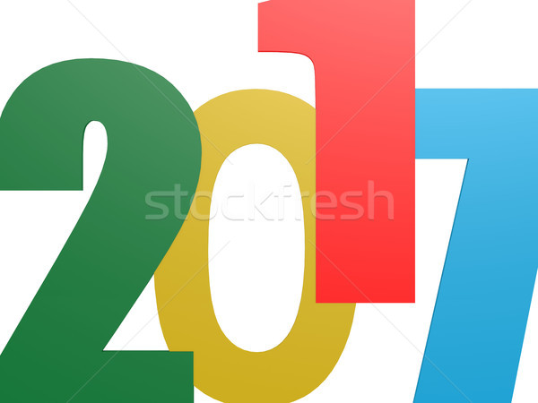 Happy New 2017 Year on white Stock photo © tang90246