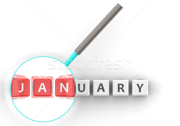 January puzzle with magnifying glass Stock photo © tang90246