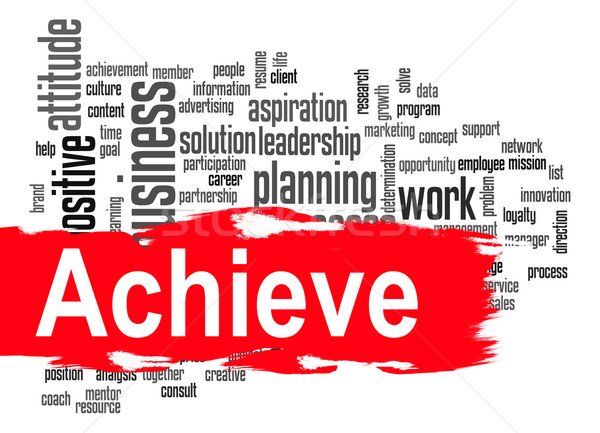Achieve word cloud with red banner Stock photo © tang90246