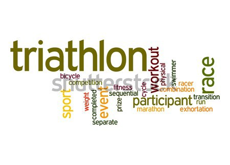 Triathlon word cloud nube gara grafica peso Foto d'archivio © tang90246
