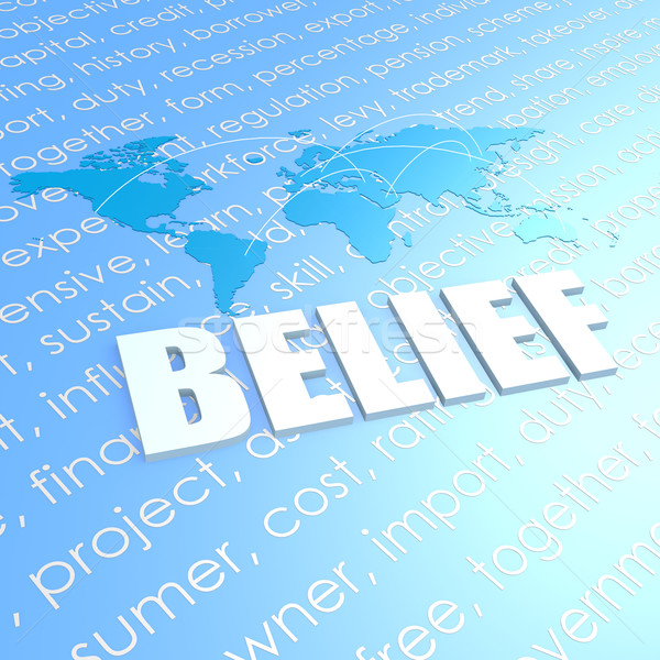 Belief world map Stock photo © tang90246