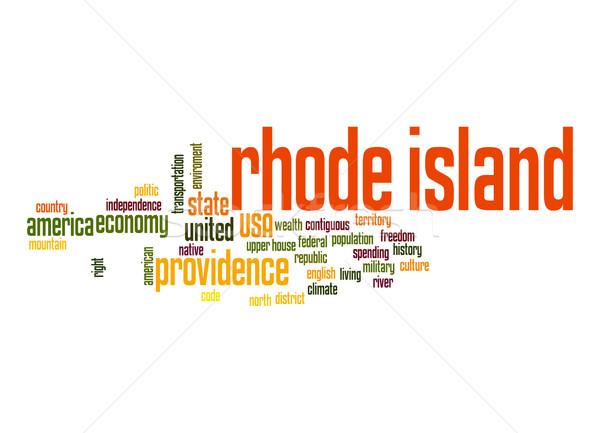 Rhode Island kelime bulutu bulut özgürlük ada tarih Stok fotoğraf © tang90246