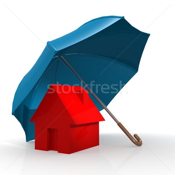 Rouge maison bleu parapluie image rendu Photo stock © tang90246