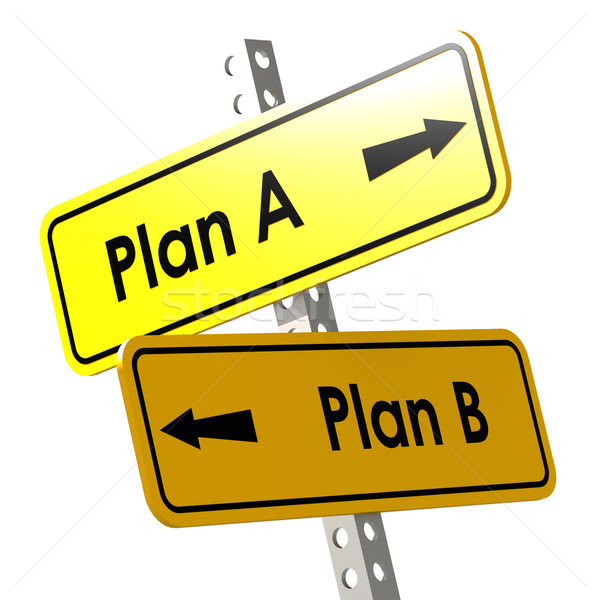 Plan A and B with yellow road Sign Stock photo © tang90246