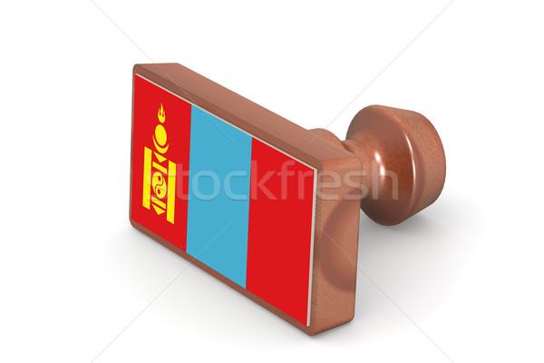 Houten stempel Mongolië vlag afbeelding gerenderd Stockfoto © tang90246