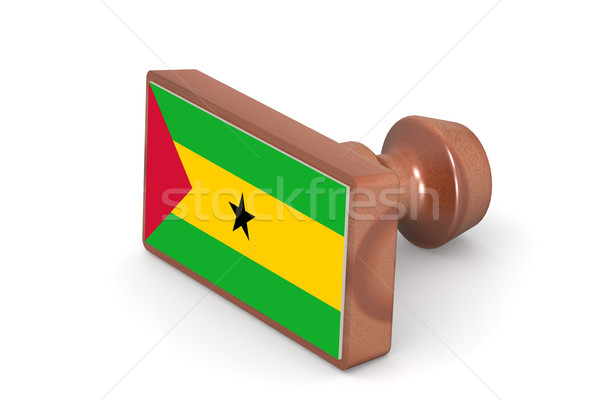 Wooden stamp with Sao Tome and Principe flag Stock photo © tang90246