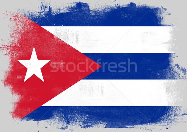Bayrak Küba boyalı fırçalamak katı soyut Stok fotoğraf © tang90246