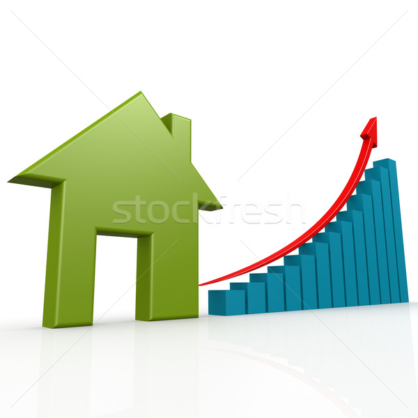 Green house with growth chart Stock photo © tang90246