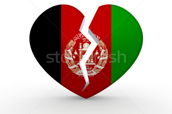 Broken white heart shape with Afghanistan flag Stock photo © tang90246