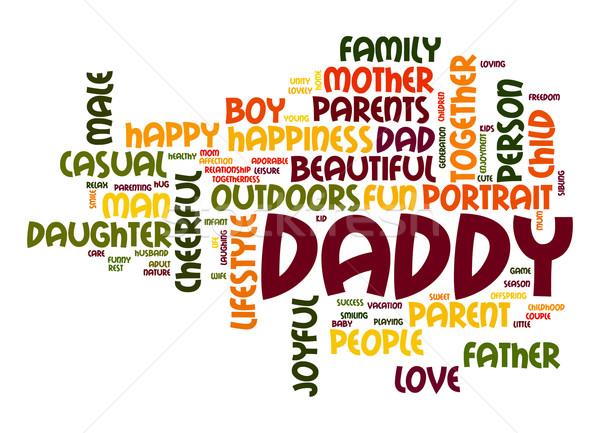 パパ 言葉の雲 幸せ 少年 父 人 ストックフォト © tang90246