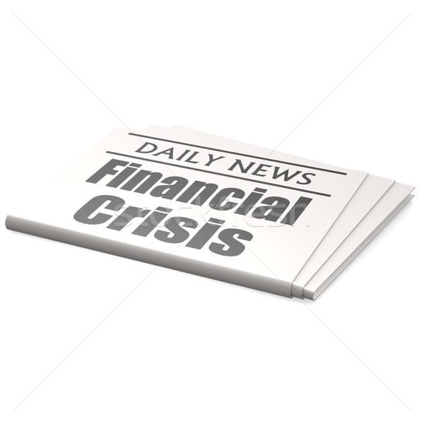 Jornal crise financeira negócio parede financiar banco Foto stock © tang90246