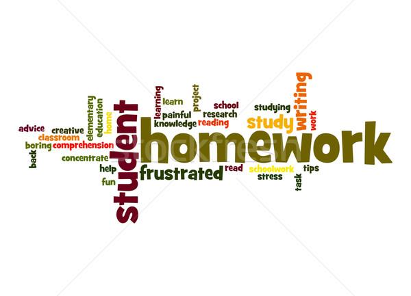 домашнее задание слово облако школы работу студент домой Сток-фото © tang90246