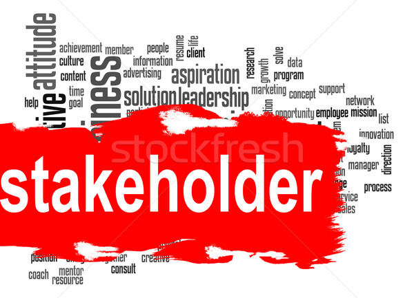 Stakeholder word cloud with red banner Stock photo © tang90246