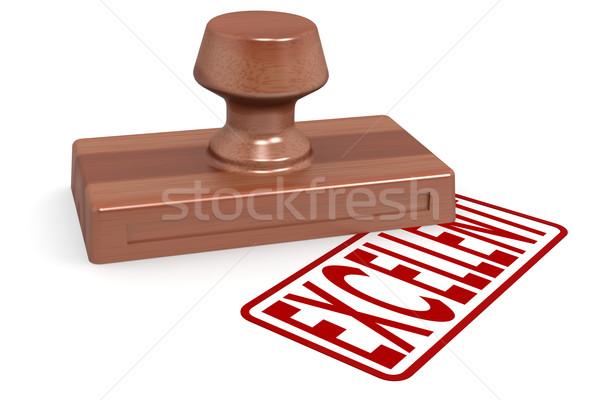 Stockfoto: Houten · stempel · uitstekend · Rood · tekst · afbeelding