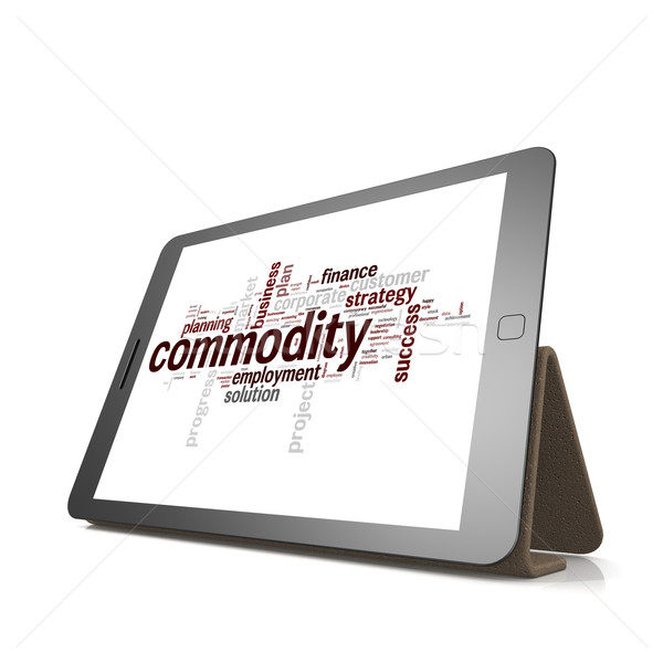 Commodity word cloud on tablet Stock photo © tang90246