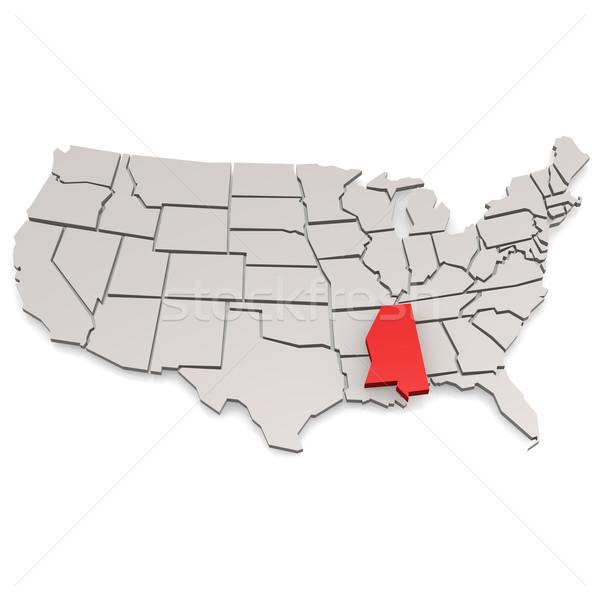 Mississipi harita görüntü render kullanılmış Stok fotoğraf © tang90246