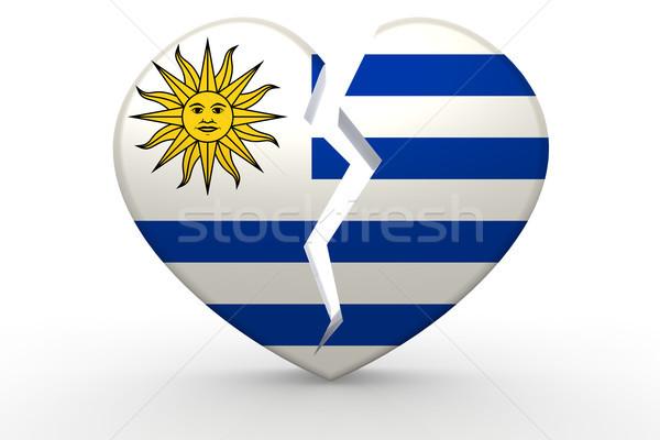 сломанной белый формы сердца флаг 3D Сток-фото © tang90246