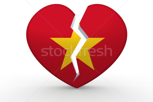 Broken white heart shape with Vietnam flag Stock photo © tang90246