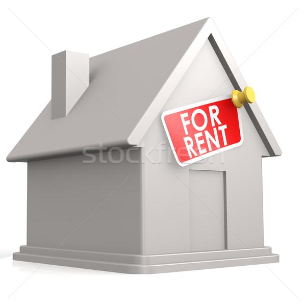 Yalıtılmış beyaz ev kira inşaat ev kırmızı Stok fotoğraf © tang90246