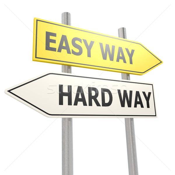Easy hard way road sign Stock photo © tang90246